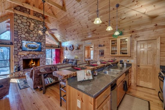 3 bedroom, 3 bath wheel chair accessible, pet friendly cabin with fire pit and hot tub
