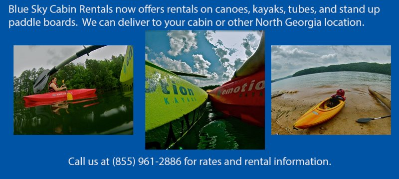 Blue Sky also rents canoes, kayaks, tubes and stand-up paddle boards for your best vacation experience!