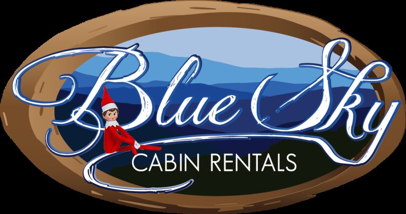 Blue Sky Cabin Rentals Logo with Elf on the Shelf for Christmas cabin giveaway contest