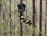 Zipline run in North Georgia